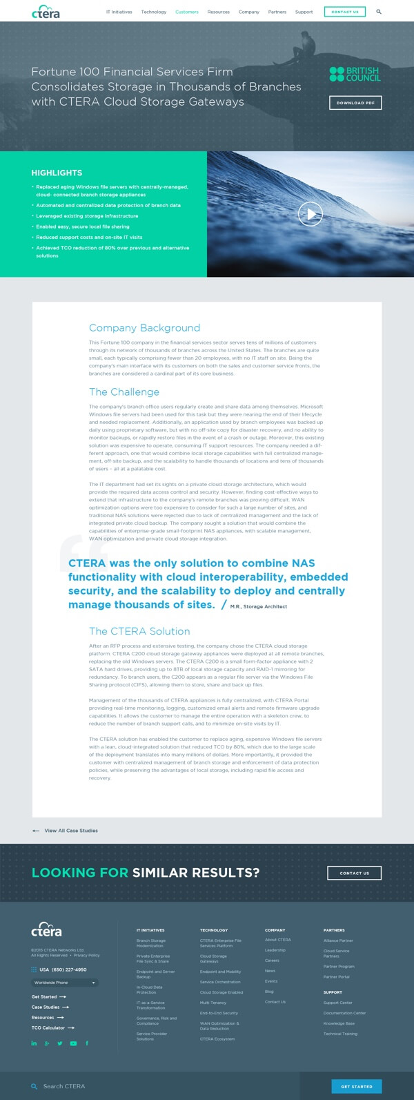 Screenshot of CTERA website - Blog post page