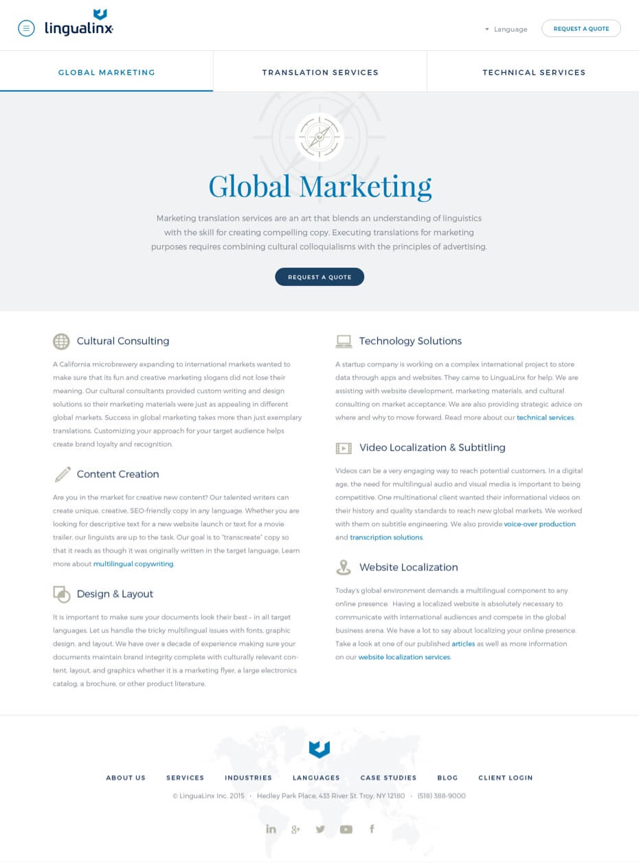Screenshot of Lingualinx website - Global Marketing page