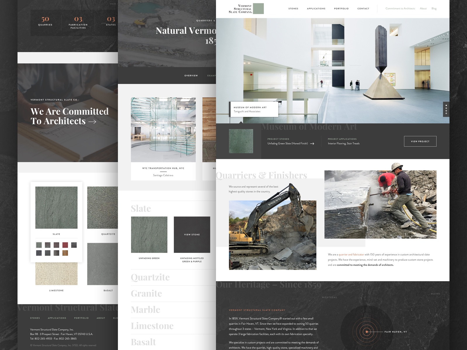 Screenshot of work for Vermont Structural Slate Company