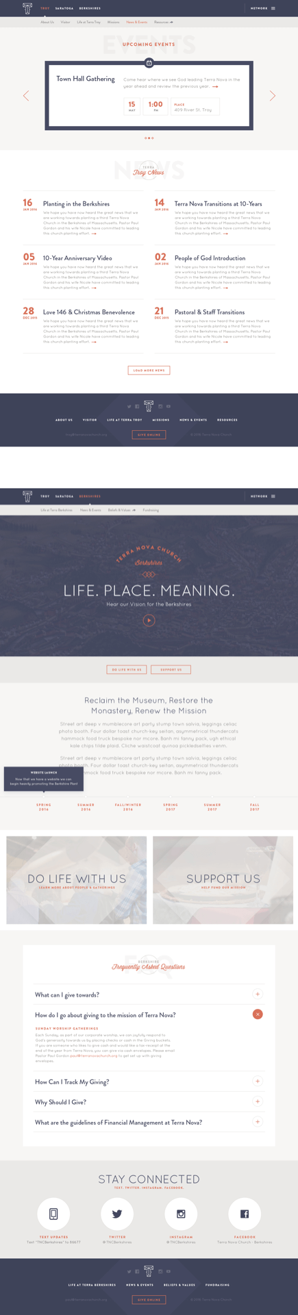 Screenshots of Terra Nova Church website