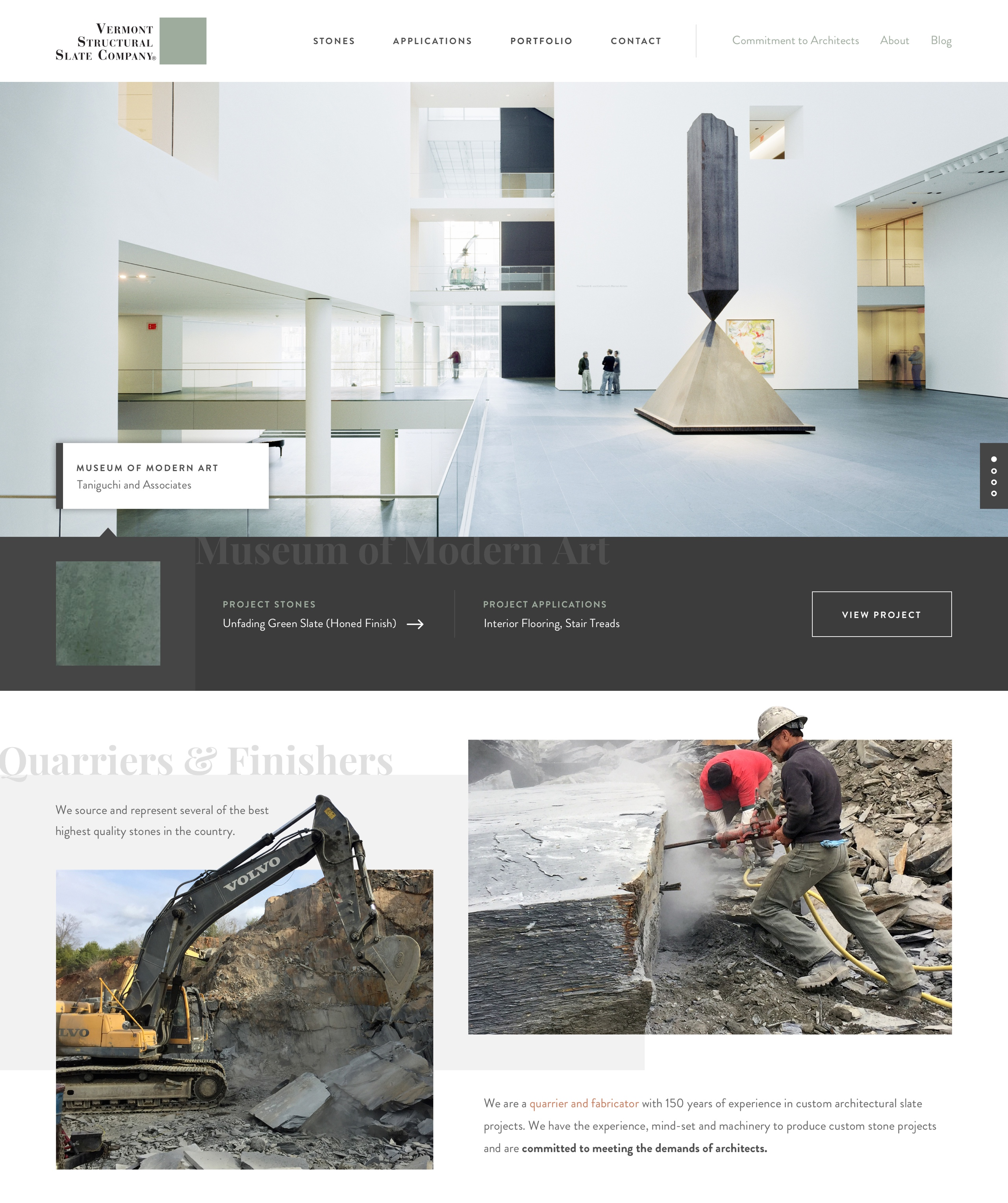 Vermont Structural Slate Company website in a browser